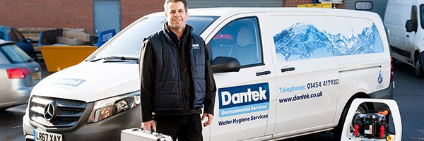 BS 8558 chlorination - Dantek engineer in front of van
